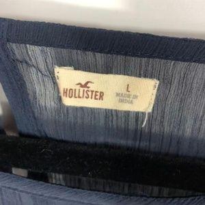 Hollister Tops - Hollister Sheer Blue Floral Lace Top Size Large